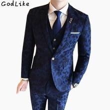 (Blazer+Pants+Vest) 2018 Fashion Men's Suit Shine Patterns Luxury Casual Men Stage Clothing Vintage Male Suits Wedding Groom 3XL