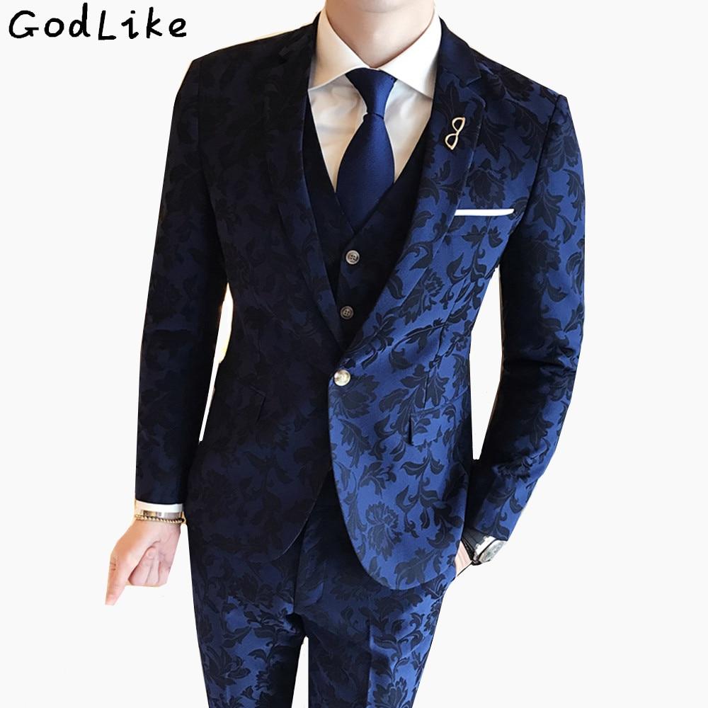Men S Suits: (Blazer+Pants+Vest) 2018 Fashion Men's Suit Shine Patterns