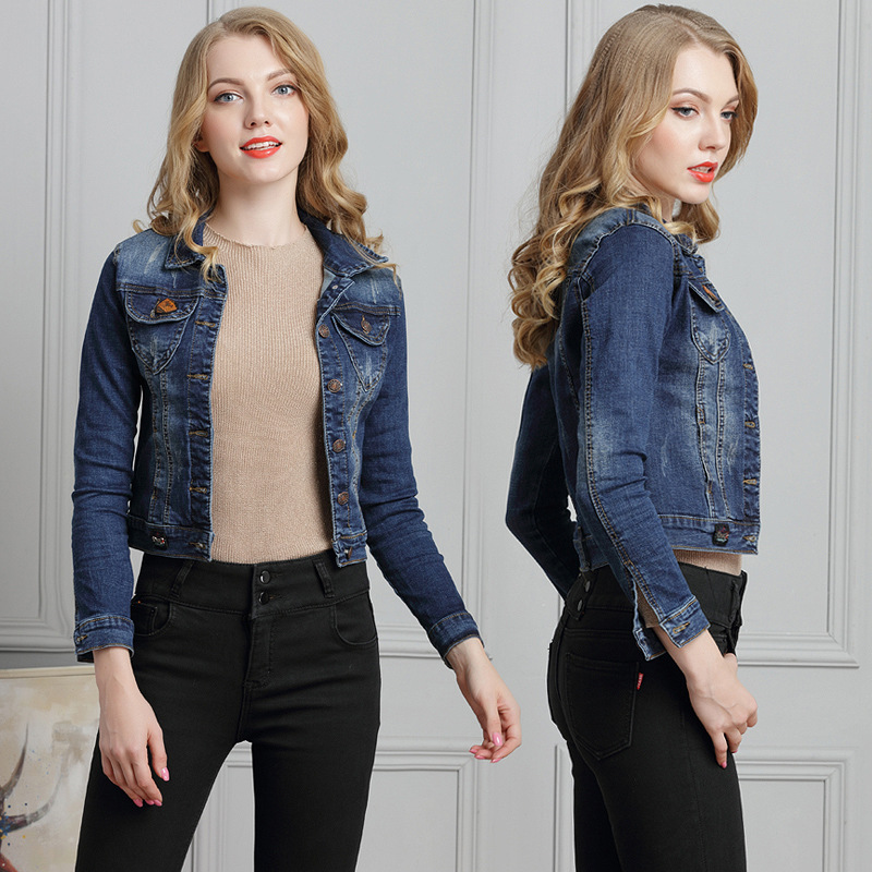 À Femmes Manteaux Casual D'été Denim Manches Vêtements Marine Jeans Coton Streetwear Bleu De 2018 Courte Veste Longues Cowboy Harajuku fAwqf