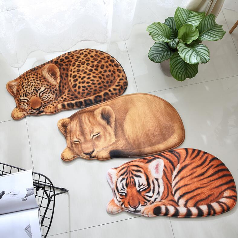New High quality handmade Lion Tiger shape washable carpet short hair Pet mat cartoon rug Kitchen Floor Mats Welcome Doormat