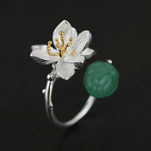 China Original Design S925 Silver lotus Green Natural Semi Precious Stones Inaly /Pink Crystal Inlay Open Ring