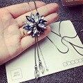 Envío Libre Collar de Cristal de Joyería De Moda suéter cadena de partido largo de circón Collar de la joyería para las mujeres sun flower Regalo