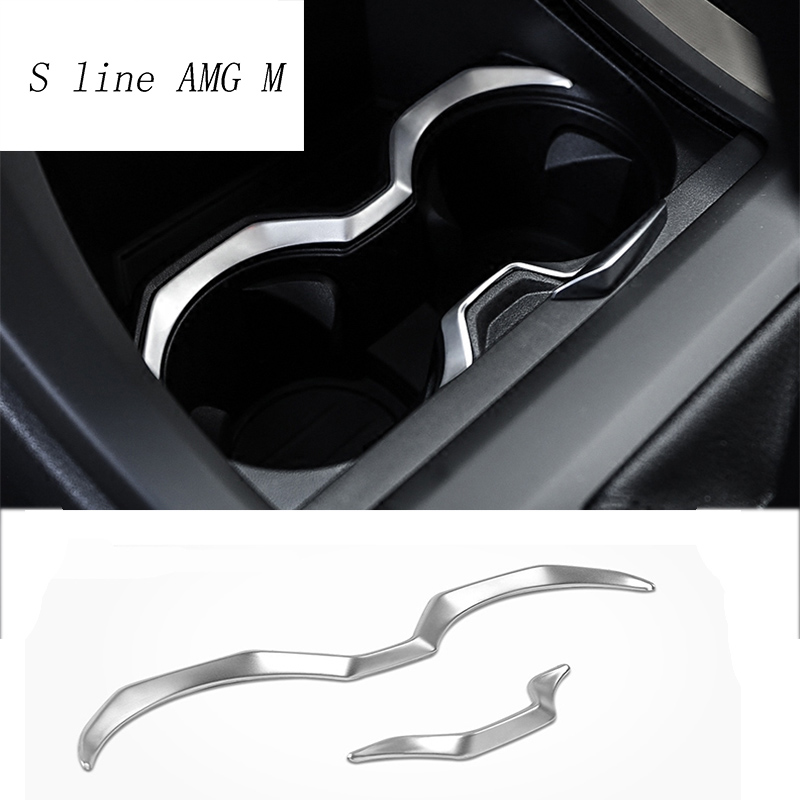 Car Styling Water Cup Holder Frame Decal Cover Trim Interior Stainless Steel Sticker For BMW X1 F48 2016-2018 Auto Accessories