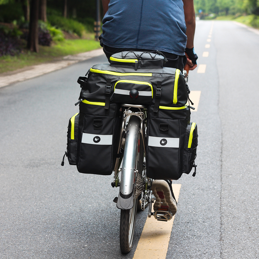 Bike Pannier Bag Bicycle Rear Rack Bag Waterproof, 3 in 1 Rear Seat Bicycle Saddle Bag with Rain Cover for Cycling