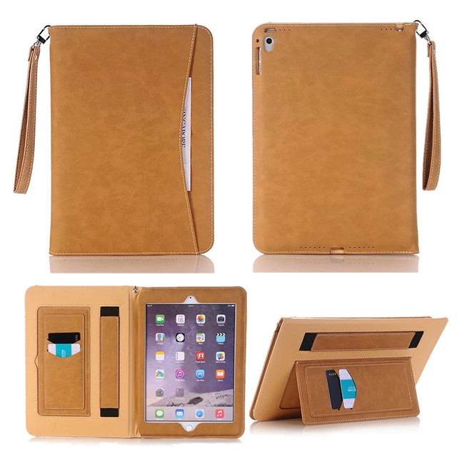 "New Fashion for Apple iPad Pro 9.7"" PU Leather Case Stand Cover Luxury Portfolio Case for iPad Pro 9.7"" with Card Bag Hand Strap"