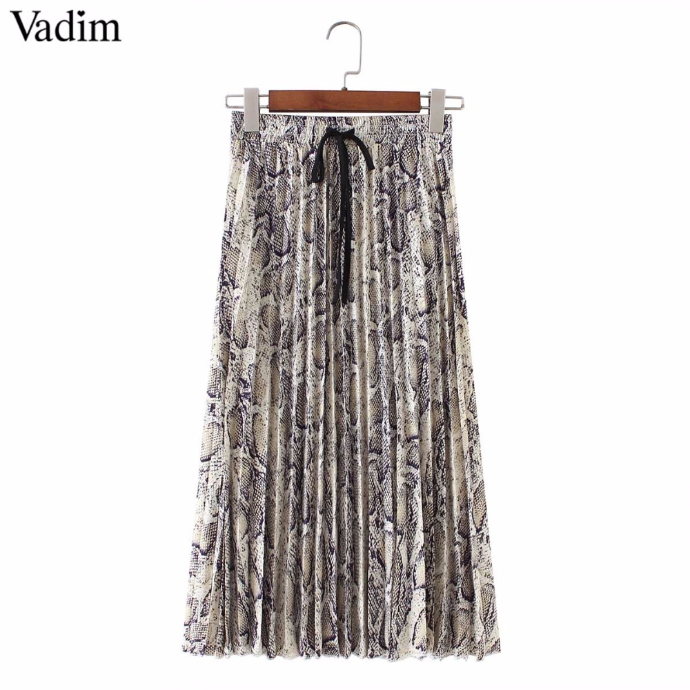 Vadim Women Stylish Snake Print Pleated Skirt Faldas Mujer Drawstring Tie Elastic Waist Ladies Casual Mid Calf Skirts Ba108