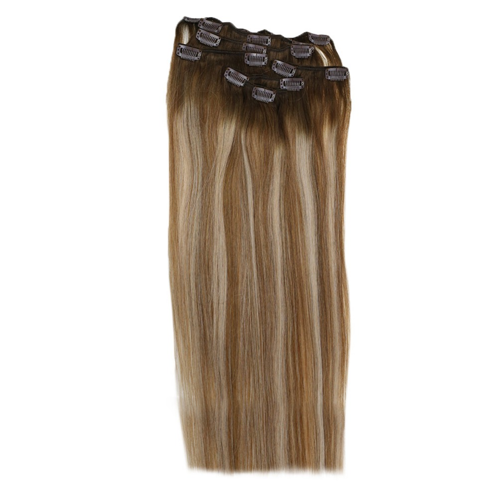 Full Shine 7Pcs Clip In Human Hair Extensions  #4 Fading To 6 And 18 Ash Blonde Full Head 100% Remy Balayage Color Clip In Hair