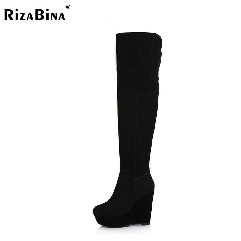RizaBina Free shipping over knee natrual genuine leather wedge boots women snow winter warm boot shoes  R1785 EUR size 34-39