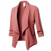 Women cotton blended Ruffle Jacket Formal Long Sleeve Fashion Open Blazer Top elegant