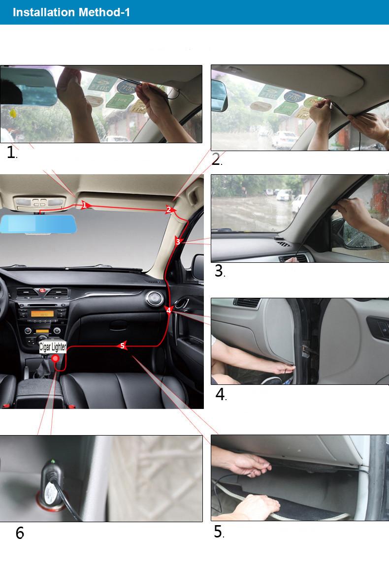 E-ACE Car Dvr Rearview Camera Mirror Auto Dashcam Video Recorder Automobile Full HD1080P Camcorder Dual Camera Lens Registrator 37