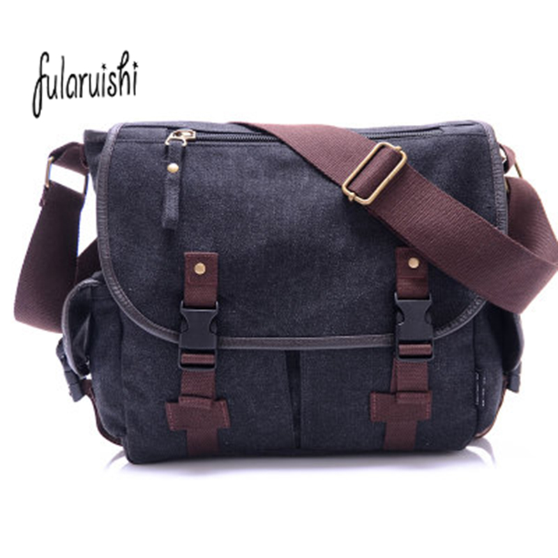 FULARUISHI Vintage Men's Messenger Bags Canvas Shoulder Bag Casual Men Crossbody Bag Man Bussiness Bag Travel Man Handbag WH342 vintage crossbody bag dark khaki canvas shoulder bags men messenger bag man casual handbag tote business briefcase for computer