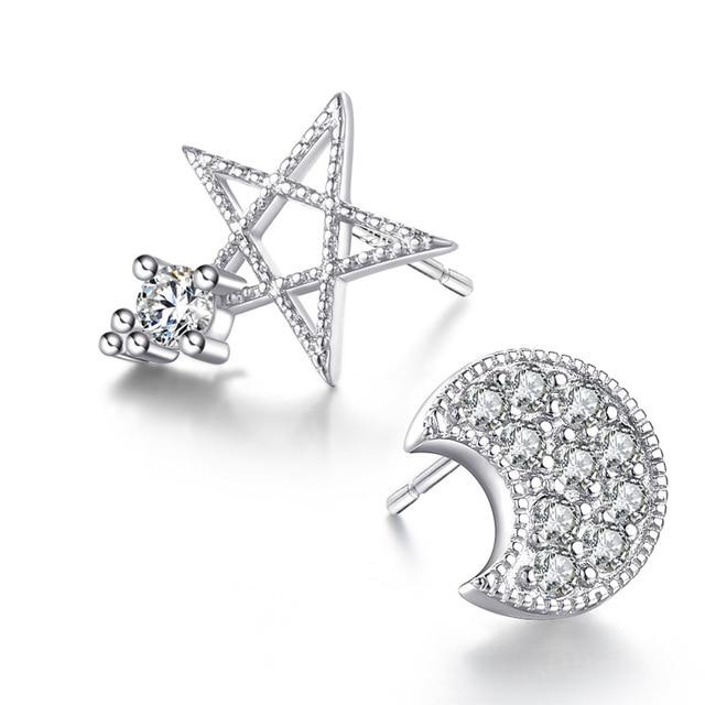 925 Sterling Silver Studs Earrings Moon & Star 5d4G7BmAaO
