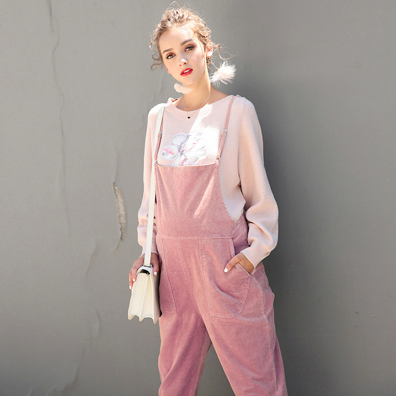 2018 spring maternity pants suspenders trousers rompers jumpsuits cotton corduroy bib pants pregnancy overalls for pregnant lady 2018 spring maternity jumpsuit pants for pregnant ladies pregnancy bib pants mummy playsuit women loose fit plaid strap trousers