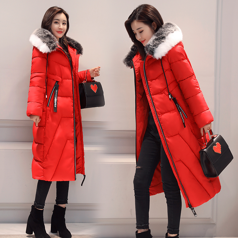 2017 Winter Jacket Women Hooded Slim X-long Paragraph Camouflage Coat Thick Warm Fur Collar Female Maxi Cotton Jacket thick hooded down jacket women slim print long winter coat camouflage y160