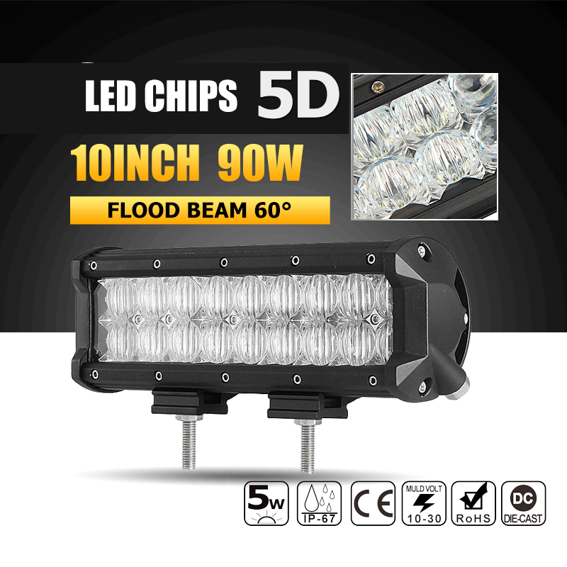 Oslamp 10 90W 5D LED Light Bar Flood LED Work Light Bar Offroad Led Driving Work Lamp for Truck Boat SUV ATV 4x4 4WD 12v 24v 1pc 4d led light bar car styling 27w offroad spot flood combo beam 24v driving work lamp for truck suv atv 4x4 4wd round square
