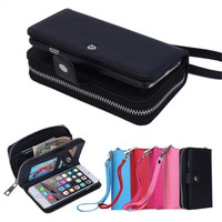 1x Luxury Zipper Wallet Leather Case For IPhone 6 Plus Detachable Rubber Cover And Multi Card