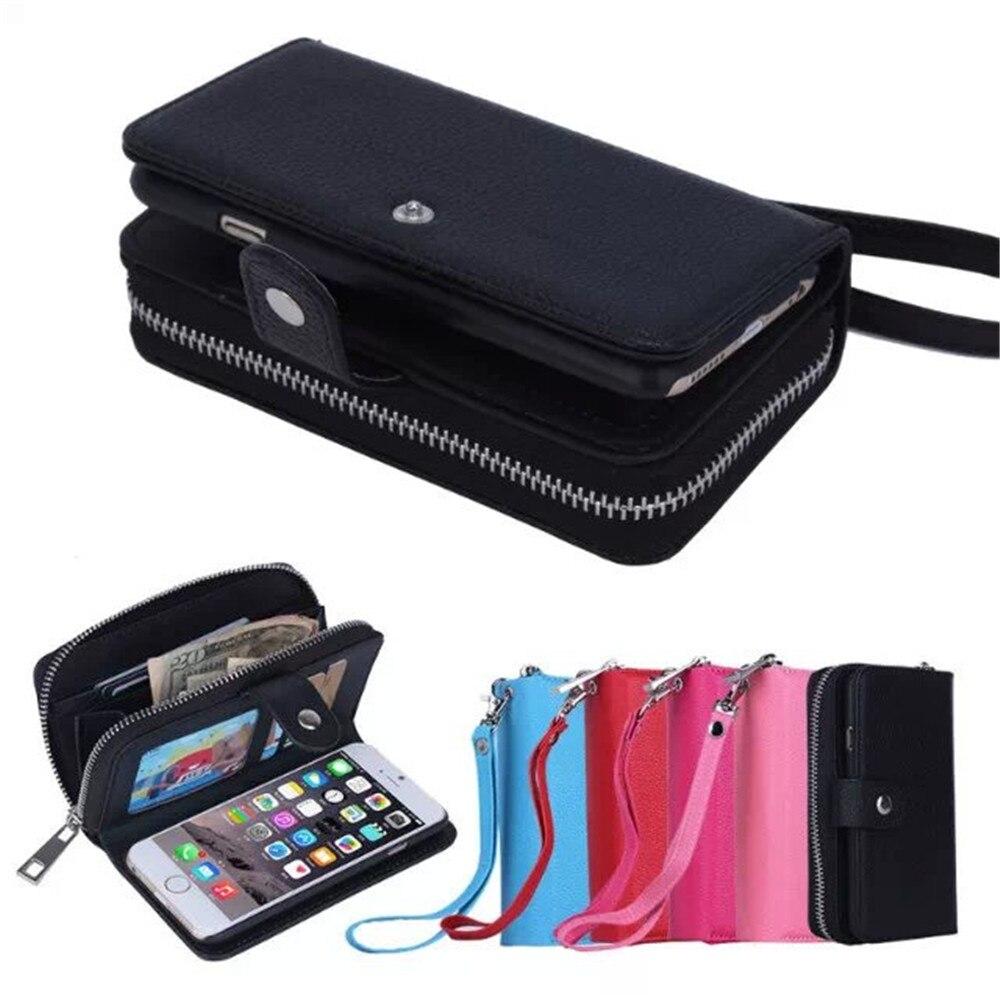 imágenes para Lujo Zipper Wallet Funda de Cuero Para Apple iPhone 6 6 s Plus 6 s + 5S SÍ Mujeres Bolso Hebilla Caja Del Teléfono Flip cubierta