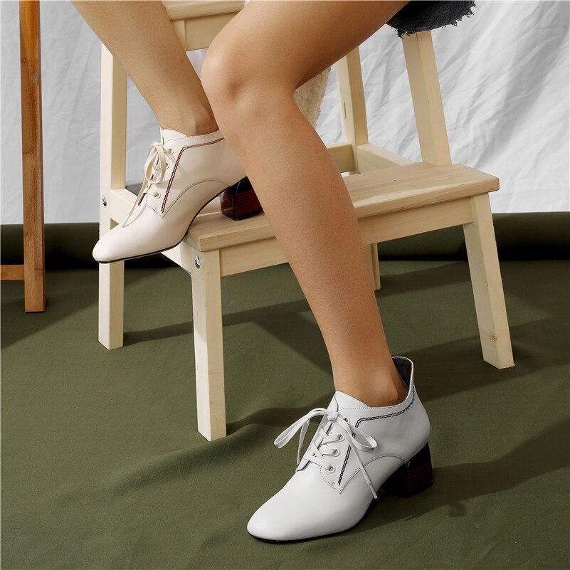 Carrera Invierno blanco Negro Botas Genuino Llegada Mujer Otoño Tobillo Casuales Altos De Cuero Nueva Conasco Cálidos Zapatos Tacones qwq60Ta