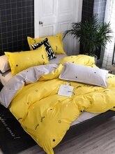 Улыбающееся лицо милые желтые комплекты постельного белья пододеяльник пятиконечная звезда серые простыни наволочка пододеяльник