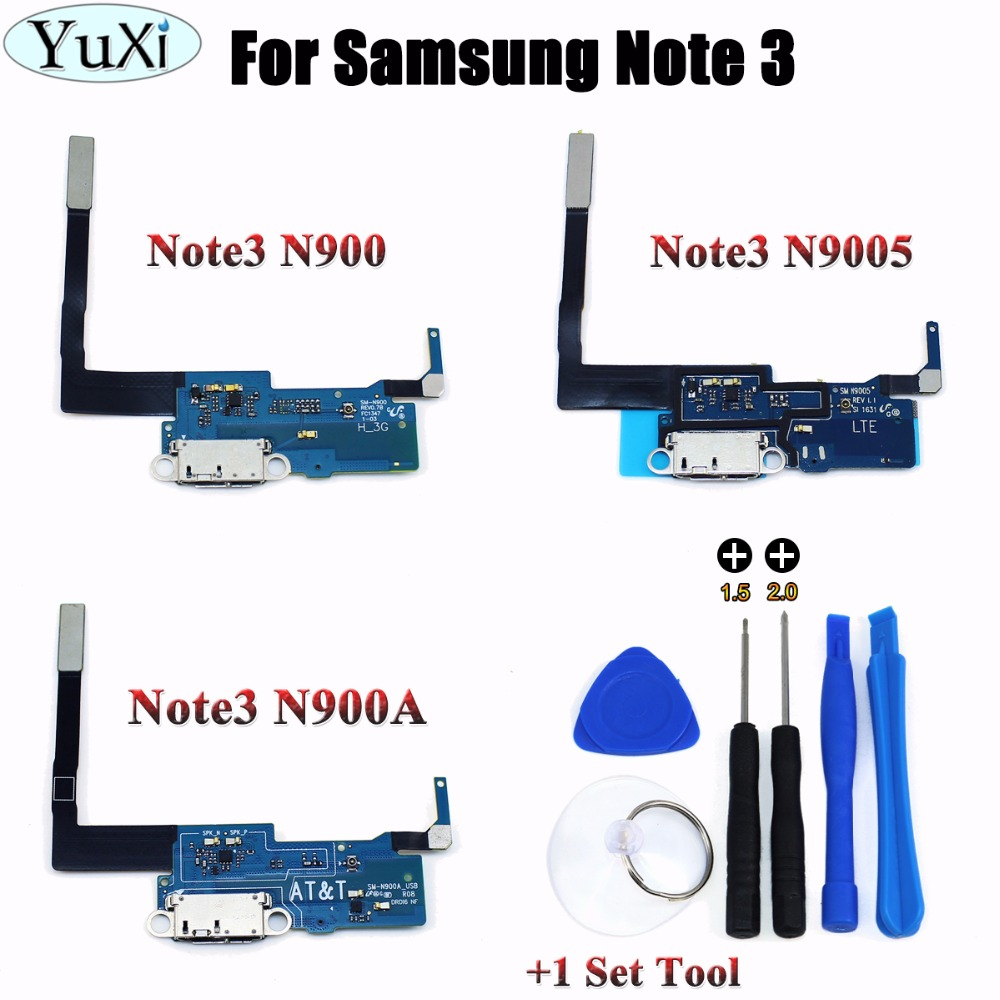 YuXi charging flex for Samsung galaxy Note 3 N9005 N900 N900A charger connector Micro usb dock port flex cable Replacement +Tool