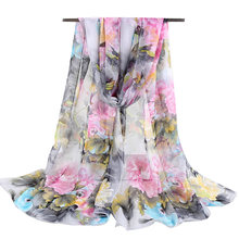 023bf01ec0d Nouveau Mode Fleur Bandana Foulard De Soie Pour Les Femmes Musulman Hijab  Mousseline de Soie Georgette Foulards Long Châle D été.
