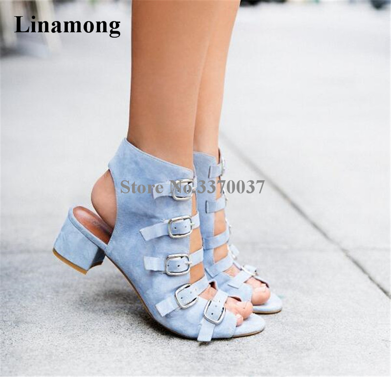 Women Elegant Blue Black Suede Leather Chunky Heel Sandals Open Toe Strap Buckle Design Med Heel Sandals Dress Shoes elegant women s sandals with suede and stiletto heel design
