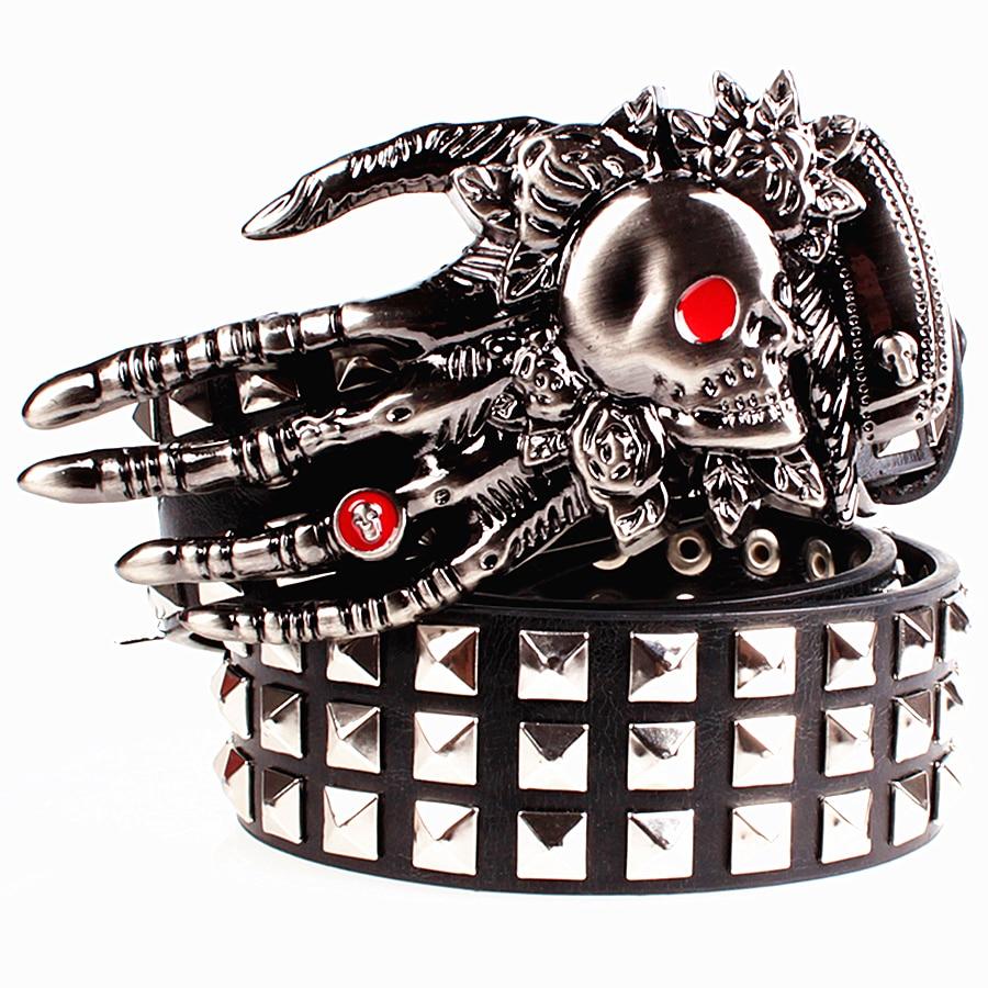 Fashion men's leather belt Punk belt skull ghost claw heavy metal wide belts hip hop dancing big rivet belt Men Gift for women