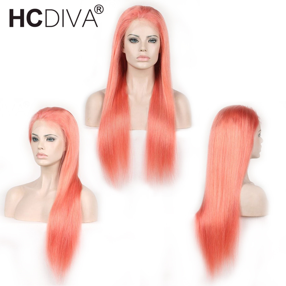 Colorful Human Hair Wig Pre Plucked With Baby Hair Brazilian Remy Lace Frontal Wigs 130% ...