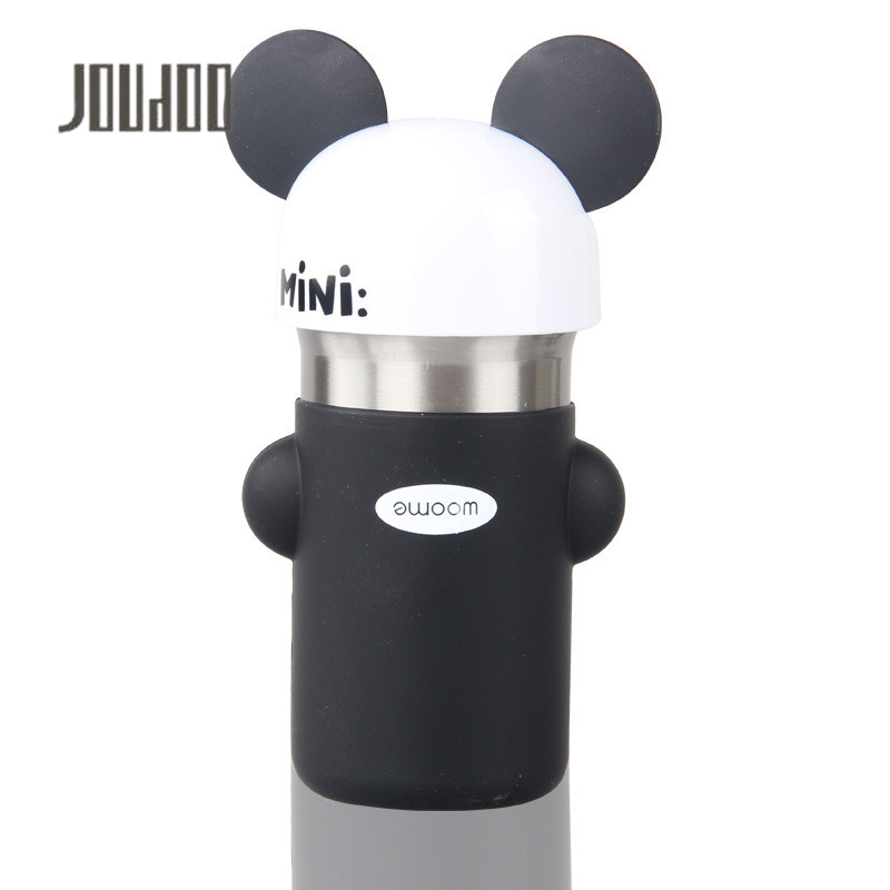 JOUDOO Cute Cartoon Beer Children Water Bottle Leakproof Stainless Steel Bottles Portable Mini Drinkware for Kids