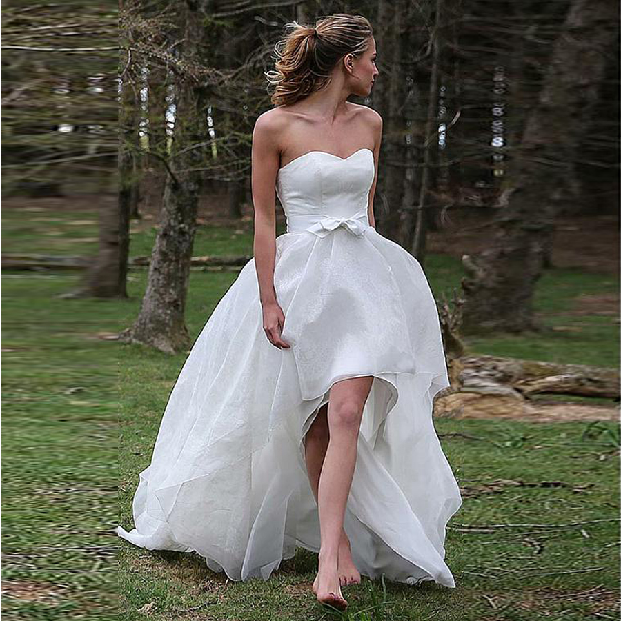 Pretty Organza Sweetheart Neckline A-line Hi-lo Wedding Dress With Bowknot Pick Up Skirt Garther Bridal Dress Cheap