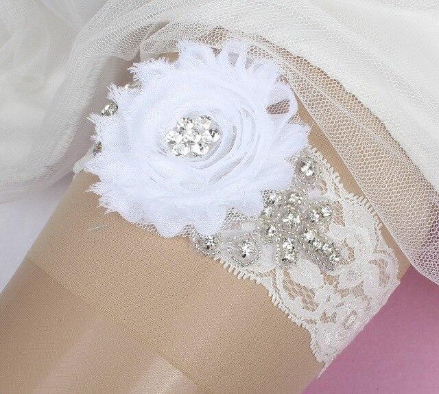 dentelle blanche marie accessoires de mariage fournitures de fte avec fleur dentelle cristal de marie jarretire - Achat Jarretire Mariage