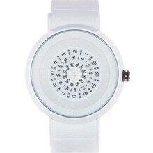 Тенденция поворотной плиты цифровой моды кварцевые часы водонепроницаемые часы любителей ремешок стол желе