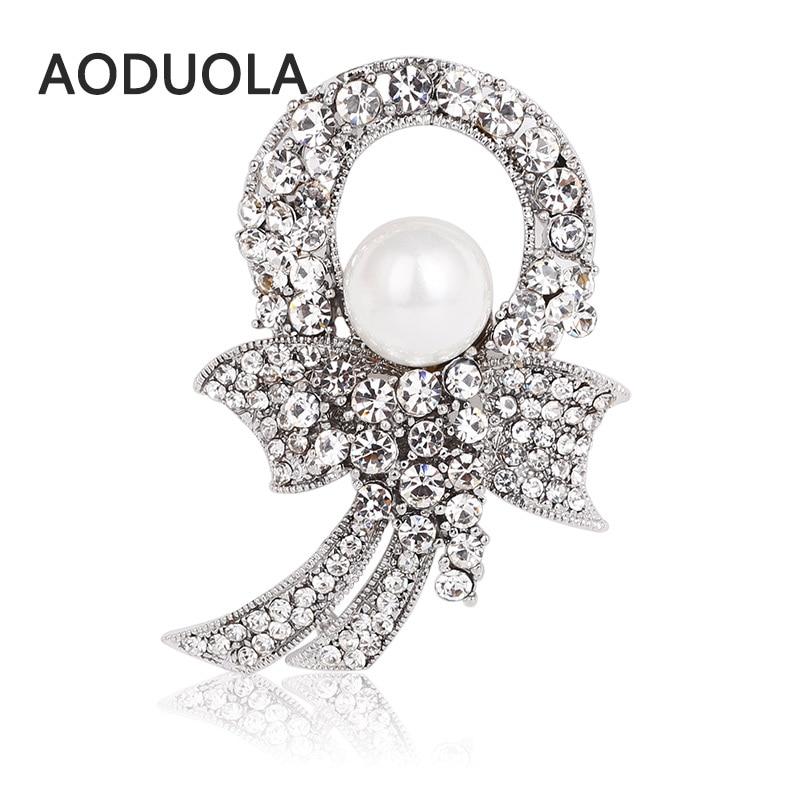 ✓Plateado astilla de La Perla de imitación Rhinestones broche arco ...