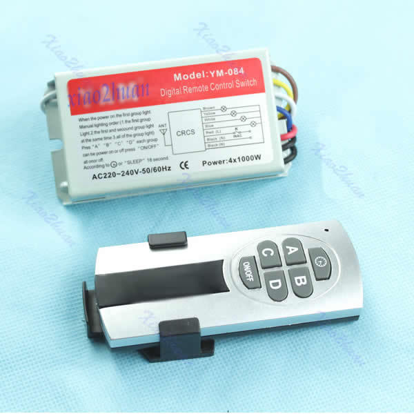 OOTDTY J34 4 Ways ON OFF Digital Remote Control Switch Controller For Light Lamp