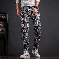 Autumn New Pants Men Fashion 2017 Big Size Letter Print Floral Harem Pant Mid Waist Casual