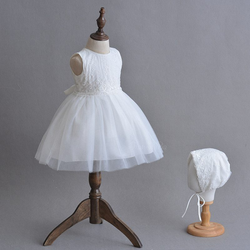 Infant dress for baby girl 1 year birthday outfit white newborn bebes anniversaire clothes cute baby girls princess dress