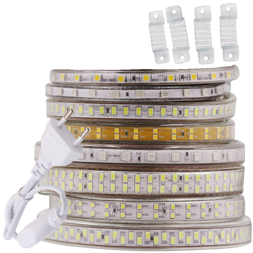 220V LED Strip Light 5050 5730 2835 5630 240LED 276LED Waterproof LED Tape RGB/Warm White Home Decoration 180led 120led 60led