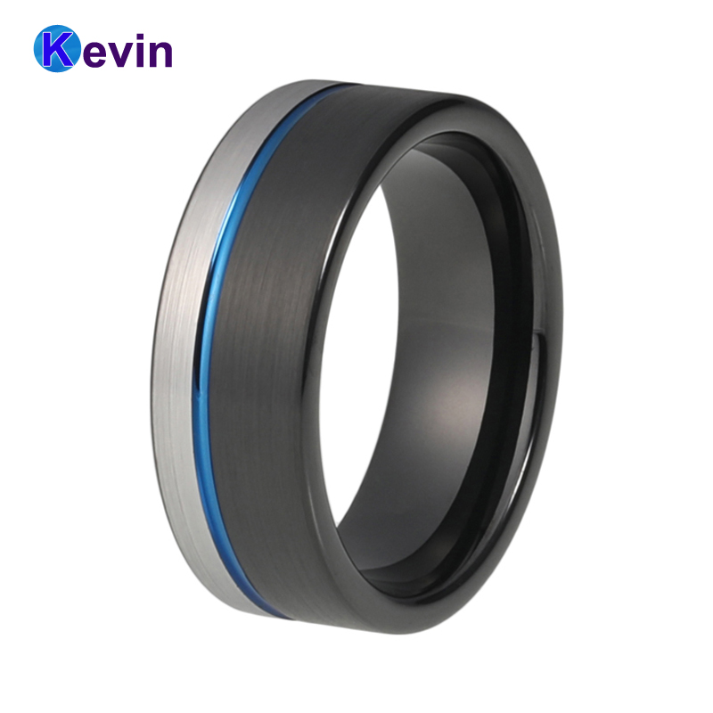 Hot Sale Tungsten Ring Men Women Wedding Bands Black Blue Color Flat