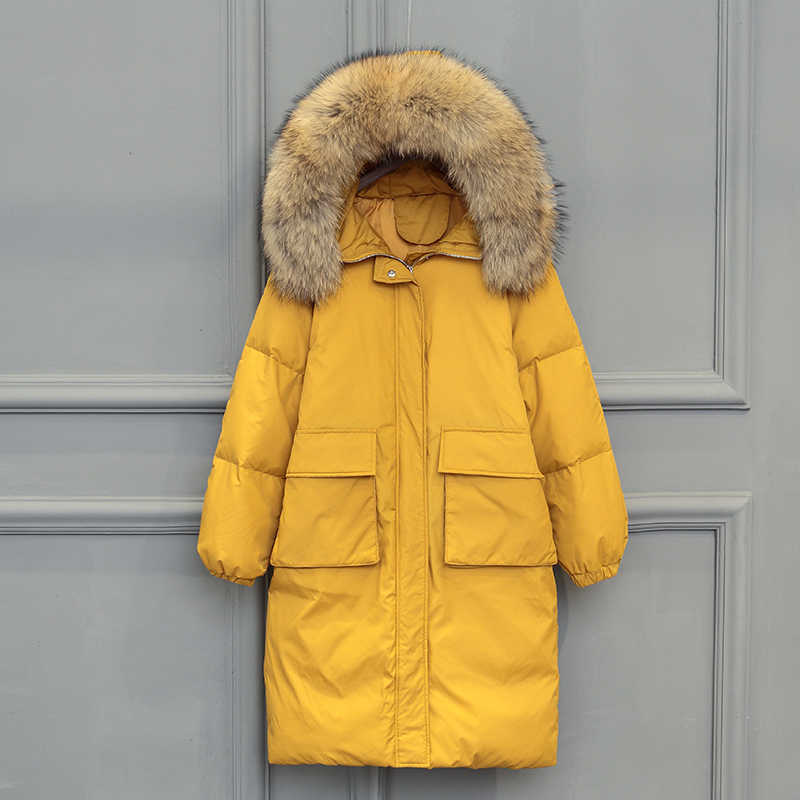 e812a0c95 Women Winter Yellow Black Jacket Large Real Raccoon Fur Collar White Duck  Down Long Warm Parkas Coat Hooded Pockets Snow Outwear