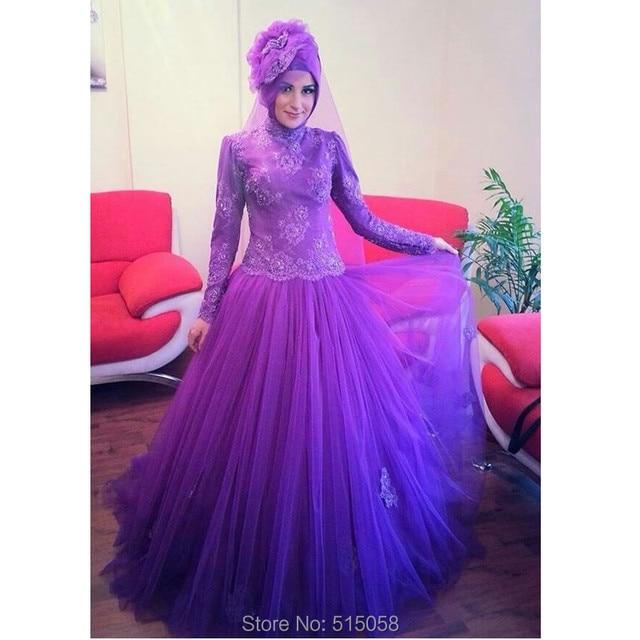 Gaya Jilbab Purple Lace Long Sleeves Muslim Wedding Dresses Gaun