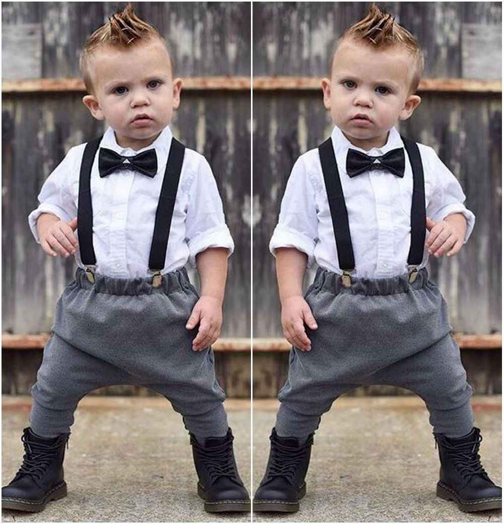 ebc81d2d4 Children New Arrival Boys Clothing Newborn Toddler Kids Baby Boy Tops Shirt  Bib Pants Trousers Outfits