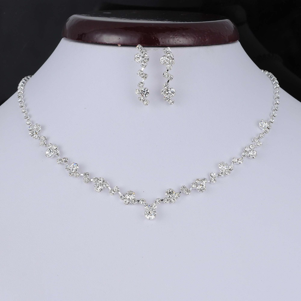 Fashion Silver Tone Crystal Tennis Choker Necklace Set Earrings Factory Price Wedding Bridal Bridesmaid African Jewelry Sets 3