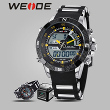 WEIDE watches top brand luxury quartz automatic shockproof waterproof sport men army Silicone digital clock analog