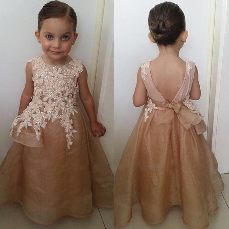 M392 New Arrival Champagne A-Line   Flower     Girl     Dresses   2018 O Neck Spaghetti Strap Appliques Sashes Tulle Kids Prom   Dress