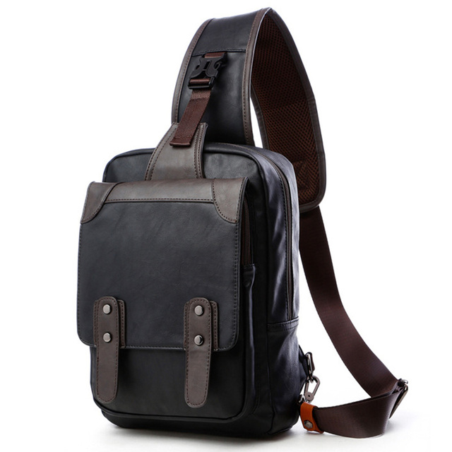 cb73dfd346ee Black Backpack Men Mochila Masculina Satchel PU Leather Back Pack Man  Plecak Shoulder Bag Strap Chest