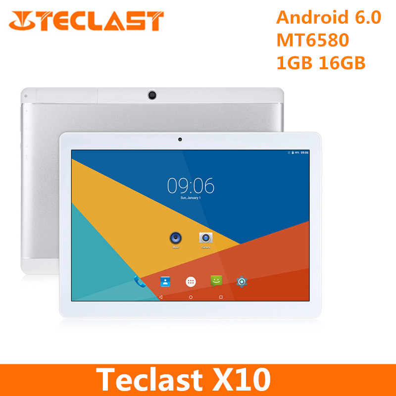 Teclast X10 Tablets 10.1 inch Quad Core 3G Phablet Tablet Android 6.0 MT6580 1.3GHz 1GB RAM 16GB ROM OTG Dual Cameras Tablet PC teclast p89s mini 7 9 ips android 4 2 2 dual core tablet pc w 1gb ram 16gb rom white