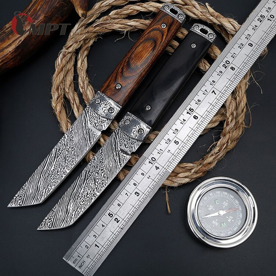 damascus hunting knife Handmade Damascus Steel Straight Pocket Tactical Army Knife Survival Fixed Blade Ebony Handle Camping 1002 hand hunting knife ebony handle folding handmade outdoors little straight knife collecting knife free shipping