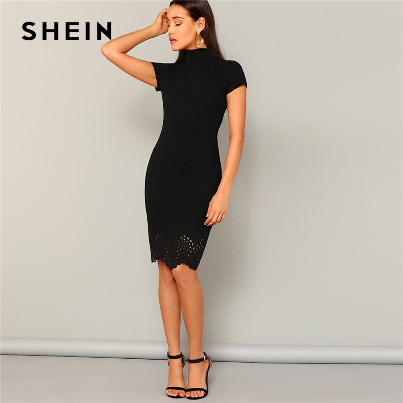 SHEIN Black Laser Cut Scallop High Neck Summer Pencil Dress Women Office Lady Short Sleeve Solid Bodycon Sexy Classy Dresses