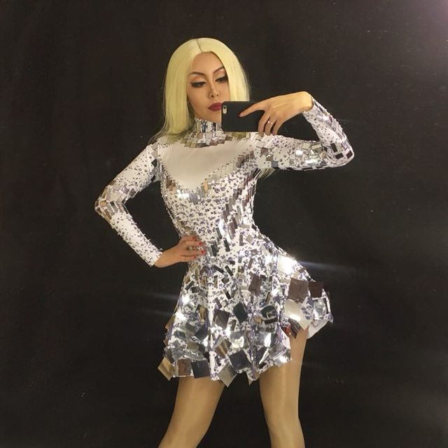 Singer mirror dress stage dance wears Sparkly Silver Sequins Bodysuit Dress Rhinestone Costume