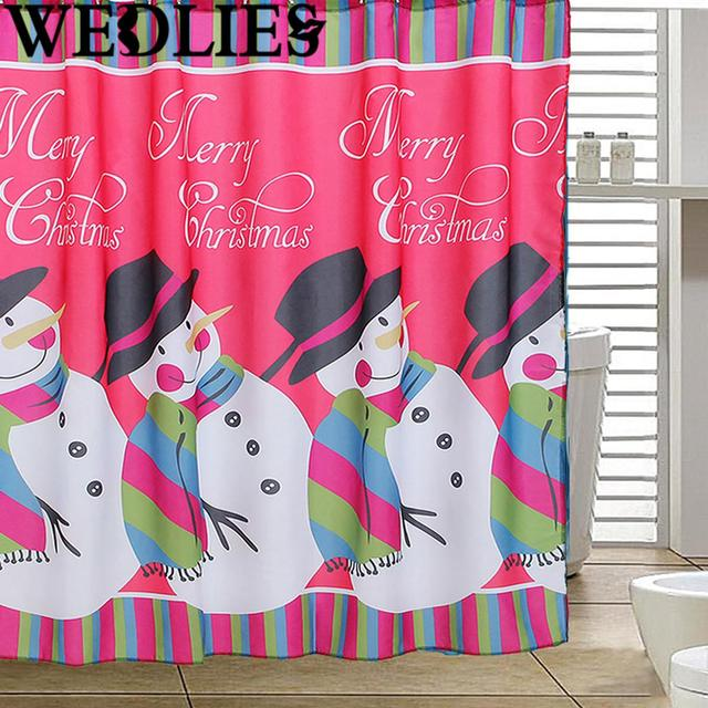 180X180cm Merry Christmas Snowman Shower Curtain Waterproof Bathroom Bath Cover Screen Xmas Home Decorative Tool